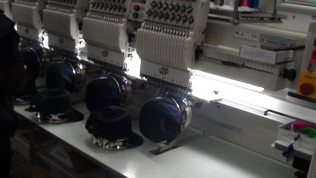 Embroidery hat production